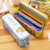 得力三层铅笔盒 铁质多功能文具盒 儿童小学生马口铁笔盒 小孩子文具收纳盒铁盒男童女