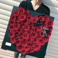 鲜花正方形七夕礼品盒黑魅大号中号天心盒花束礼盒玫瑰花批