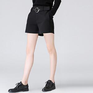 初语2017秋装新款气质腰带黑色拉链短裤女阔腿微喇时尚显瘦休闲裤