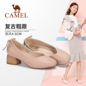 Camel/骆驼女鞋 2018春季新款 复古方头粗跟单鞋简约纯色中跟鞋女