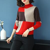 南极人 半高领羊毛衫女短款秋冬新品撞色拼接韩版套头毛衣