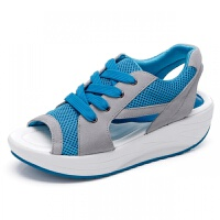 新款夏季鱼嘴女凉鞋厚底增高摇摇鞋女韩版系带松糕凉鞋