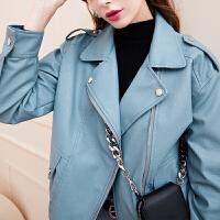 【大牌联合 到手价:159 元】三彩2019冬季新款纯色西装领宽松上衣长袖皮外套机车夹克女