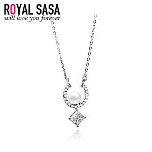 皇家莎莎925银项链女吊坠日韩版简约贝珠仿水晶锁骨连送女友礼物