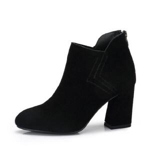 camel 骆驼女鞋  秋冬新款 简约百搭高跟短靴 舒适磨砂女靴粗跟靴子