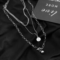 【新品】韩国ins原宿风饰品欧美男女嘻哈项链多层长款项链吊坠毛衣链挂件 套装