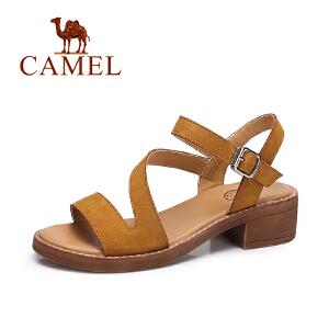 camel骆驼女鞋 夏季时尚舒适凉鞋女 简约复古方跟凉鞋