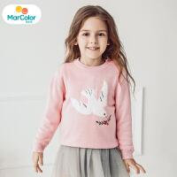 马卡乐女宝宝毛衫女童长袖套头和平鸽提花2019年冬新款