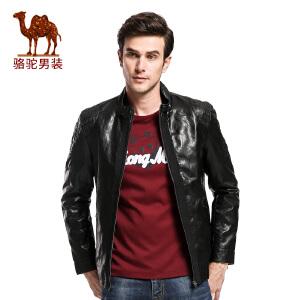 骆驼&熊猫联名系列男装 时尚立领青年夹克衫商务休闲皮jacket潮男