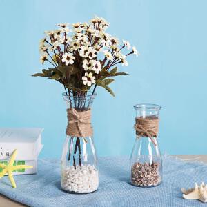 御目 摆件 DIY创意复古麻绳玻璃花瓶摆件玻璃透明水培清新干花客厅装饰插花装饰欧式家居摆饰