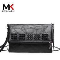 莫尔克(MERKEL)新款软皮铆钉女士手拿包百搭时尚大容量手抓晚宴包链条斜挎单肩小包
