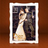 大韩婚纱照照片水晶相框挂墙制作欧式创意组合摆台定制大画框定做 双层立体水晶亚米奇