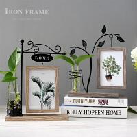 创意相框摆台6寸照片客厅办公桌面水培装饰摆件北欧铁艺双面相架