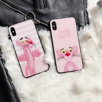 粉红豹苹果X玻璃壳全包防摔iphone7plus手机壳卡通6plus软壳8硅胶