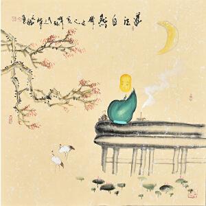中国国际书画协会会员天语67 X 67CM人物画gr01382