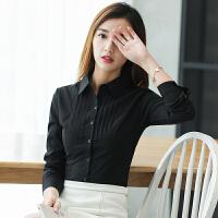 春夏款衬衫职业女打底长袖女工装白领黑白修身OL韩版大码2018新品