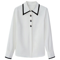白色加绒雪纺衬衫女长袖2018秋冬新款韩版宽松上衣娃娃领打底衬衣