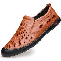 男士凉鞋牛皮休闲男鞋软底夏天男式洞洞透气鞋子镂空皮鞋男 38 标准皮鞋码