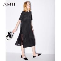 【AMII 超级品牌日】Amii[极简主义]夏装2017新款女条纹拼百褶雪纺短袖连衣裙11741568