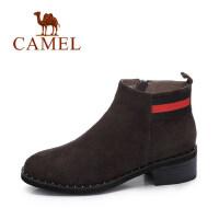 camel 骆驼女鞋 冬季新款 英伦风百搭方跟反绒皮女靴子简约中跟短靴