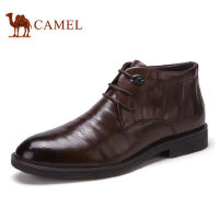 camel骆驼男靴 冬季新品 加绒保暖时尚休闲高帮男靴牛皮男鞋