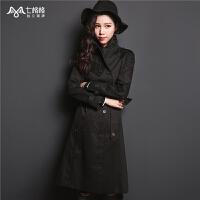 2018冬装新款时尚韩版中长款双排扣宽松风百搭过膝长袖外套风衣女