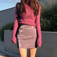 紫色小皮裙半身裙 2018新款亮皮漆皮PU皮高腰包臀a字裙短裙女秋冬
