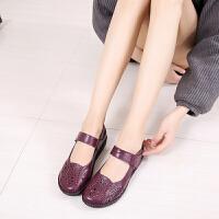 手工孕妇妈妈鞋夏季洞洞鞋软底平跟平底中老年包头凉鞋女 紫色 脚宽拍大一码