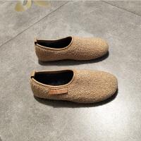 网红同款毛毛鞋卷毛方头加绒保暖奶奶鞋软底瓢鞋一脚蹬豆豆鞋棉鞋