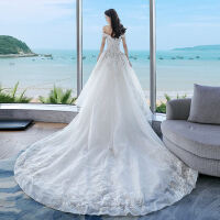 GCU婚纱礼服2018新款水晶新娘结婚一字肩长拖尾显瘦宫廷定制 拖尾款
