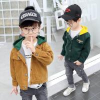 男童夹克冬装中小童春秋款外套连帽灯芯绒保暖外套潮