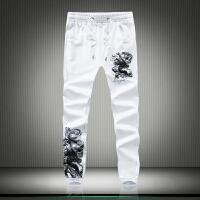 青年男士收脚裤个性潮流 小脚裤中国风水墨龙印花大码松紧长裤