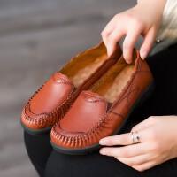 妈妈鞋单鞋真皮防滑软底民族风中老年女鞋老人平底皮鞋