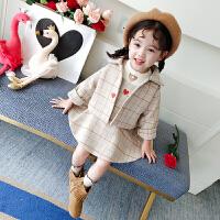 儿童格子呢大衣两件套秋冬女宝宝洋气套装中小童外套裙子