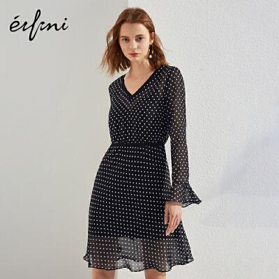 2件4折 伊芙丽2018春装V领中长裙黑色荷叶边波点气质雪纺连衣裙