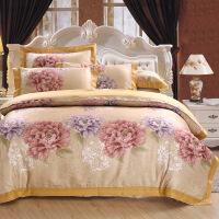 全彩棉贡缎提花床上用品 四件套 彩棉婚庆用品
