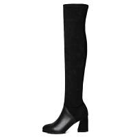 过膝靴女小个子粗跟2018新款秋冬性感弹力高跟长筒靴显瘦高靴 黑色