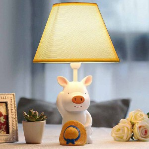 御目 台灯 草帽小猪儿童护眼台灯卧室床头灯装饰可调光创意温馨可爱男孩生日礼物满额减限时抢礼品卡创意家具