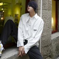 春秋季条纹宽松衬衣外套潮流韩版青年休闲长袖衬衫男士上衣潮衣服
