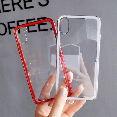 简约透明玻璃壳苹果x手机壳7p潮牌iphone6s新款8plus情侣男女 6/6s 4.7寸 红色