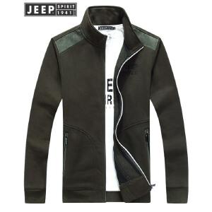 吉普JEEP男士立领夹克舒适棉质开衫秋冬加绒休闲外套纯色男装上衣