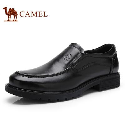 骆驼牌 男鞋 新品套脚柔软男皮鞋绅士简约休闲低帮男鞋