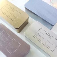 学生女个性文具盒收纳盒多功能铁盒韩国简约字母金属双层笔盒