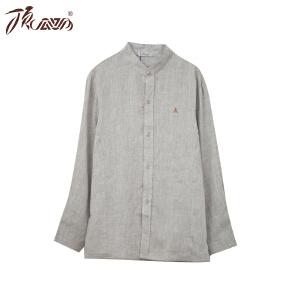 顶瓜瓜睡衣男士衬衫秋季亚麻上装长袖麻宽松休闲可外穿家居服
