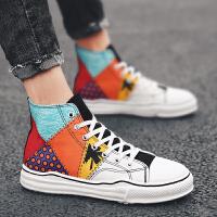 高帮帆布鞋男彩绘涂鸦个性潮流夏季透气薄款男士布鞋休闲板鞋男潮夏季百搭鞋 彩色