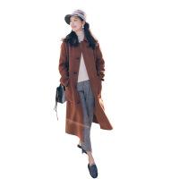 实拍2018秋冬新款女装复古英伦风中长款时尚宽松毛呢大衣呢子外套 焦糖色