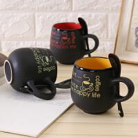 创意卡通陶瓷杯子 大容量水杯马克杯 简约情侣杯 带勺咖啡杯 牛奶杯