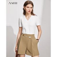Amii极简不对称排扣休闲百慕大短裤女2021夏季新款西装式直筒裤子