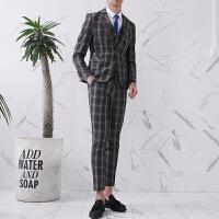 帅气格子西服套装男士三件韩版修身休闲新郎礼服小西装外套