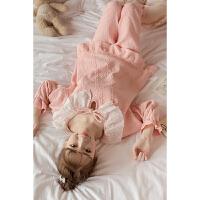 睡衣女秋季纯棉长袖韩版秋冬季甜美可爱清新家居服套装学生春秋 粉红色